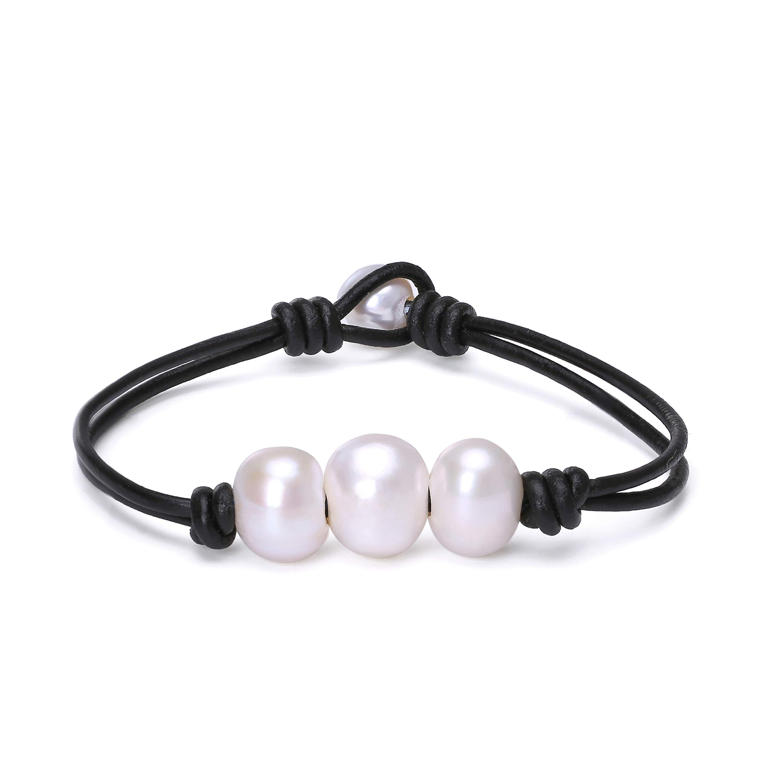 Fashion Braided Leather Knotted Bracelet Handmade Pearls Jewelry for Lady Black 7.5''