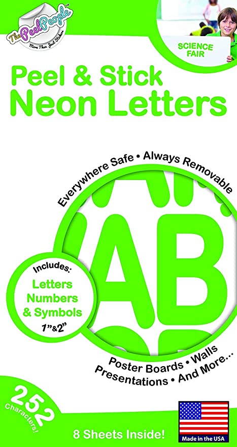 252 pc peel and stick letters and 2 green neon