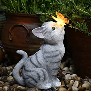 Garden Statue Cat Figurine - Solar Powered Resin Creative Animal Sculpture, Indoor Outdoor Decorations, Patio Lawn Yard Ornaments, Garden Décor Gift
