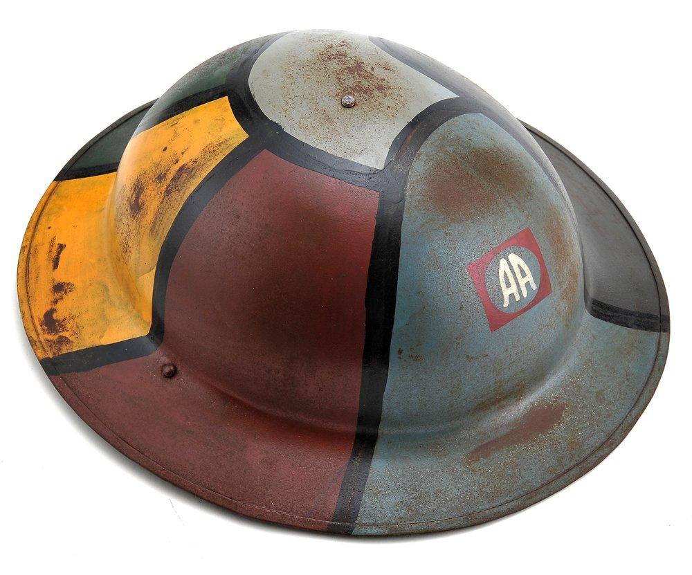 World War Supply US WW1 M1917 Brodie Helmet Doughboy Helmet 82nd Airborne Hand Aged by World War Supply