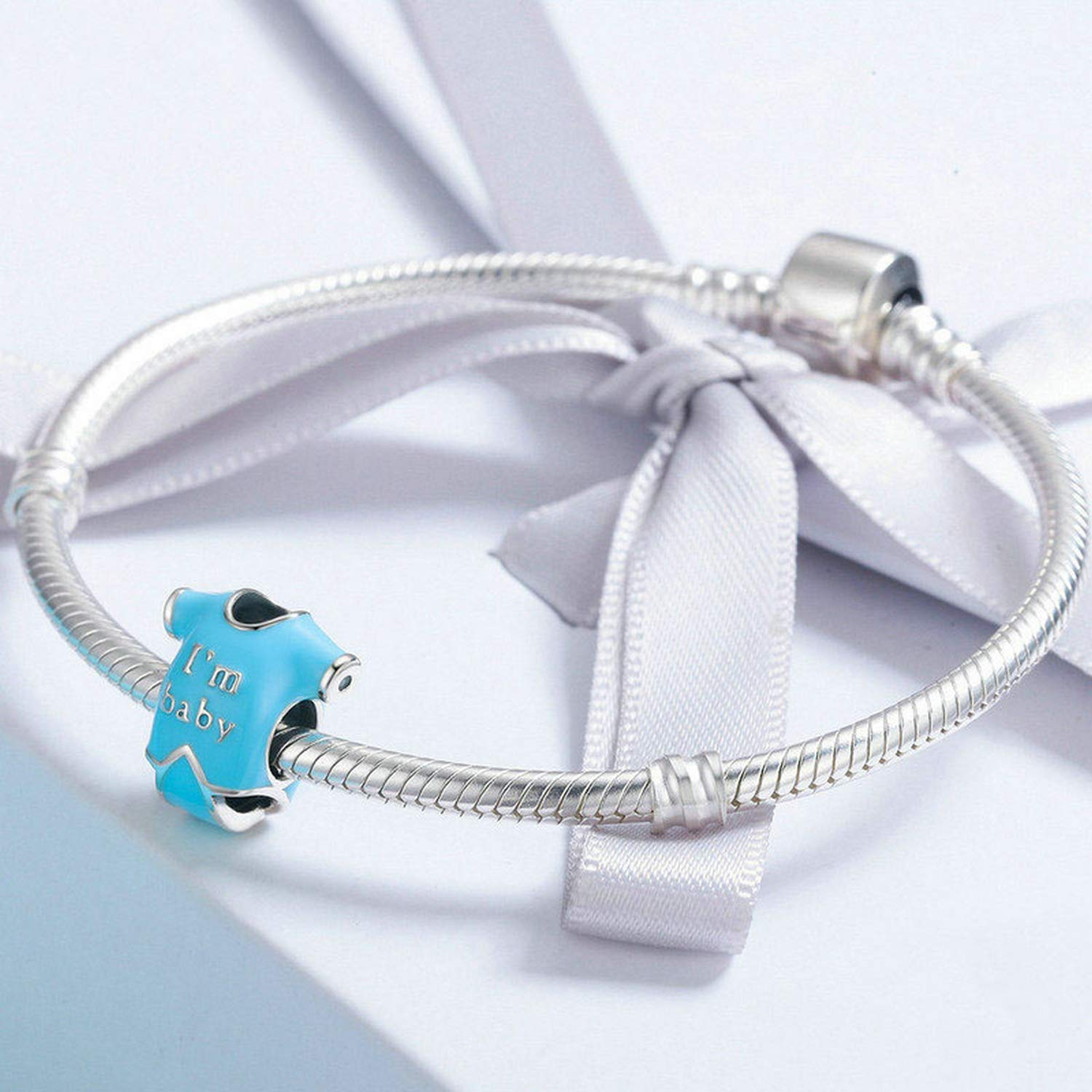 EverReena Beads Im Baby Cute Little Baby Shirt Blue Enamel for Silver Bracelets