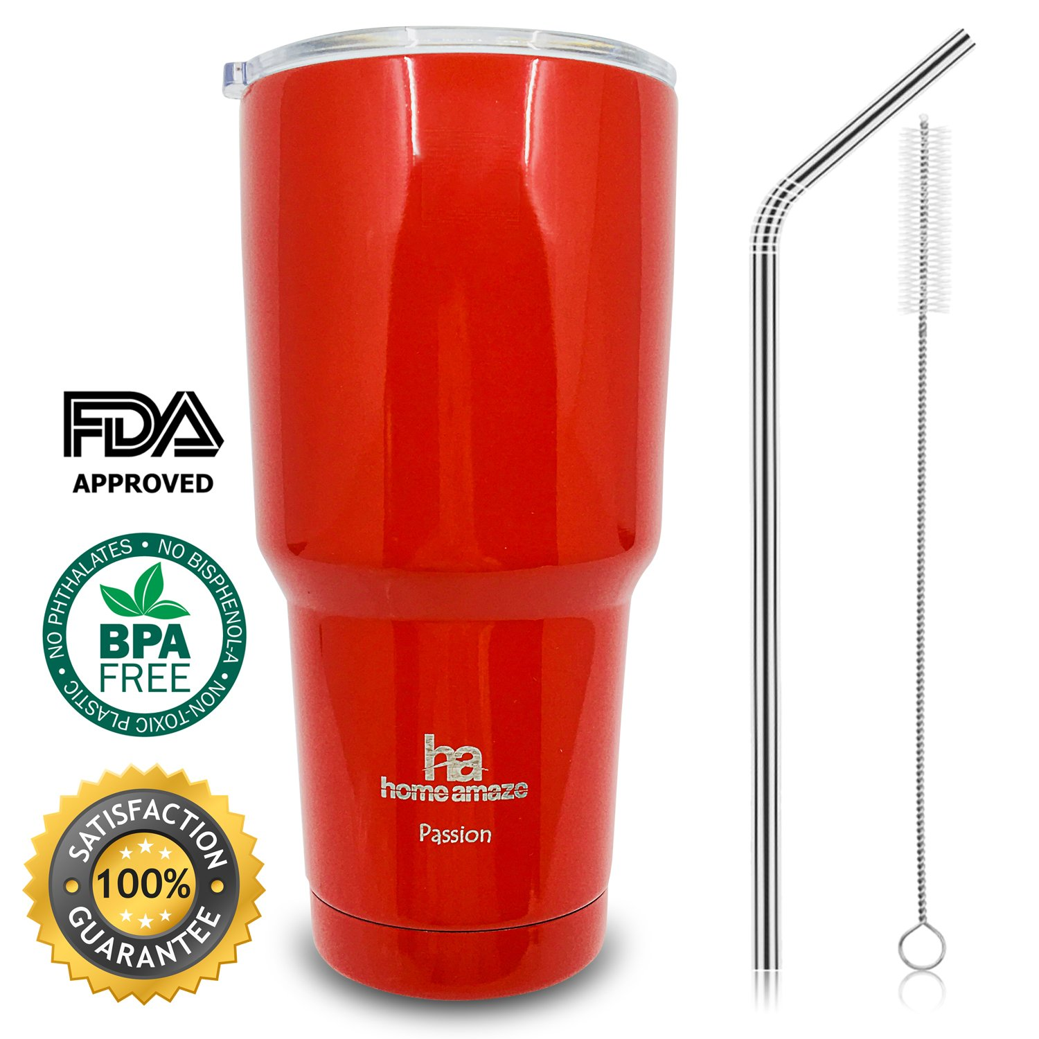 home amaze Stainless Steel Tumbler, Vacuum Insulated Travel Mug with Spill-Proof Lid, Straw and Cleaning Brush (30 oz) (RED/with''Passion'' engraved)