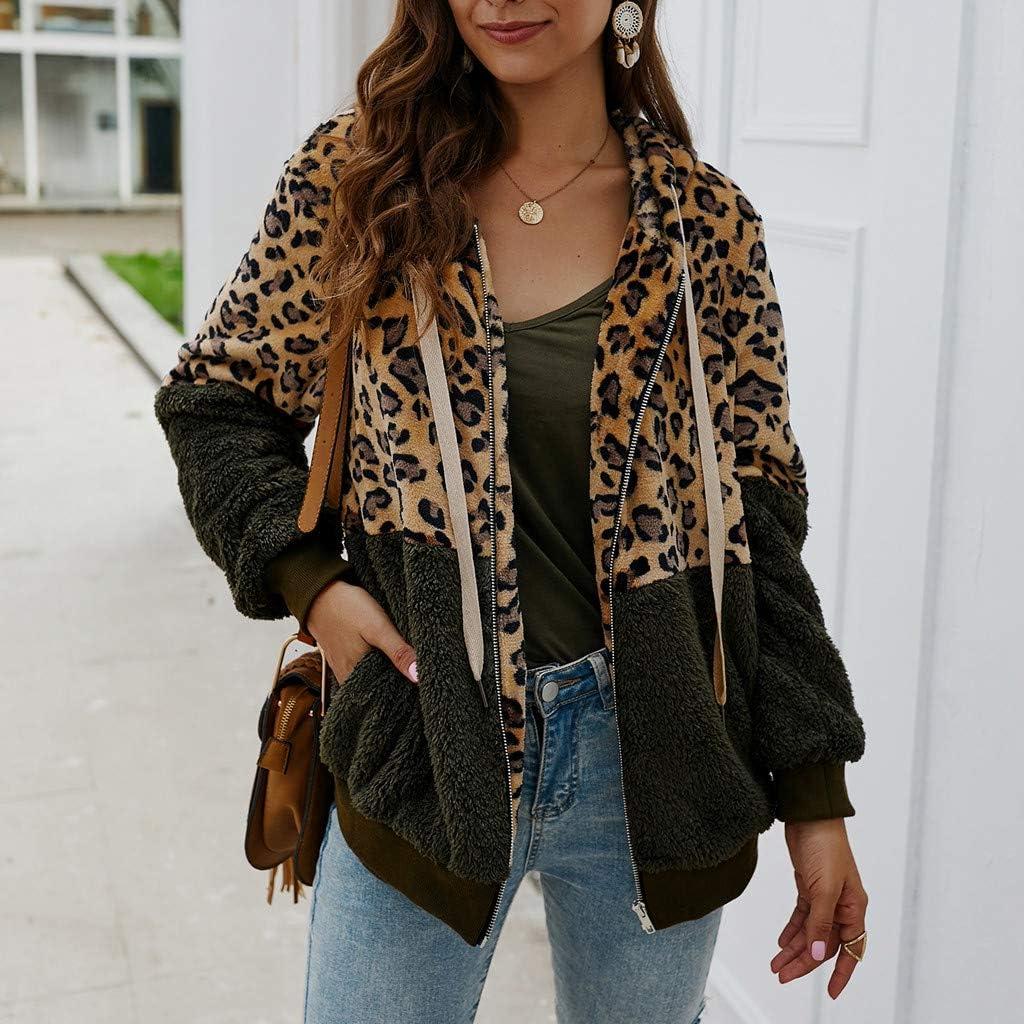 Women Leopard Print Patchwork Fleece Coat Jackets Long Sleeves Cardigan Zipper Keep Warm Coats Outerwear