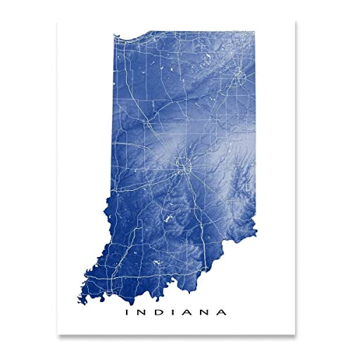 Amazon.com: Indiana Map Art Print, IN State Artwork, USA Wall Decor ...