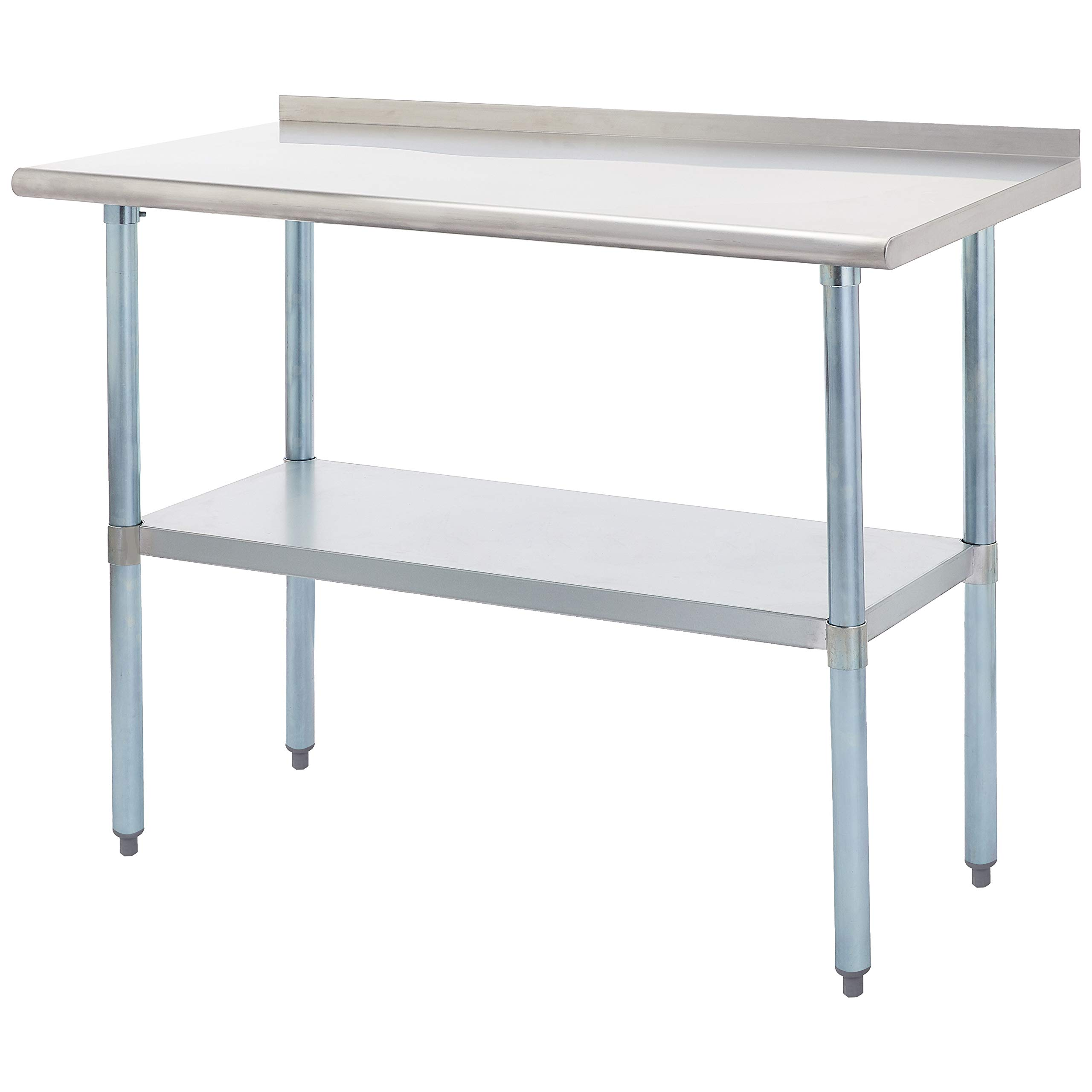 Rockpoint Carmona Tall NSF Stainless-Steel Commercial Kitchen Work Table with Backsplash and Adjustable Shelf, 48 x 24 Inch by ROCKPOINT