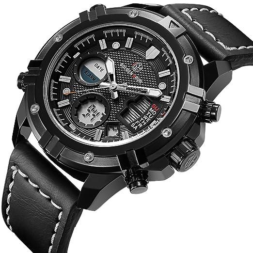 Relojes de Cuarzo Analš®gicos Digitales Deporte para Hombre para Hombres cronš®grafo Militar Reloj Impermeable (Black-110): Amazon.es: Relojes