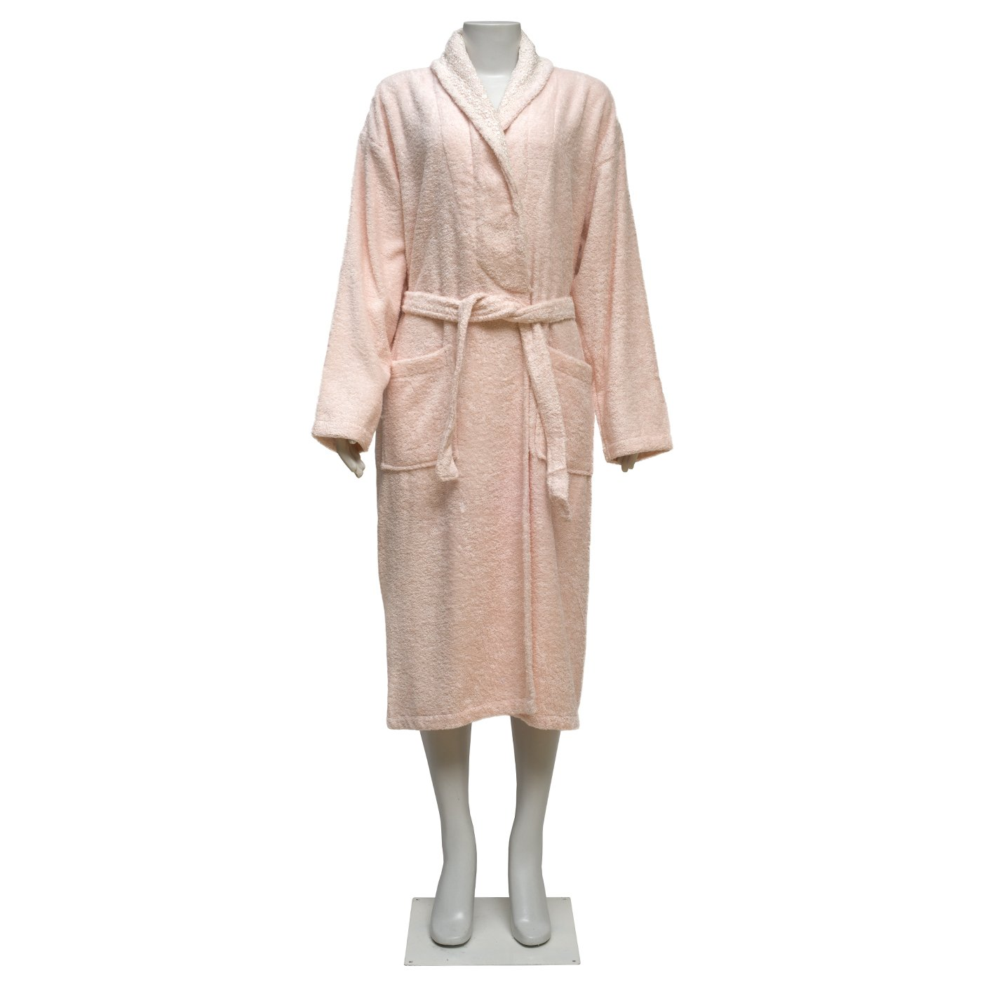 100% Turkish Cotton Extra Plush Bamboo Bathrobe Set with Embroidery Lace, Large Bath Towel, Hair Towel Unisex Terry Bathrobe Set - Moisture Wicking and Odor Resistant (Light Coffee) (Salmon Pink)