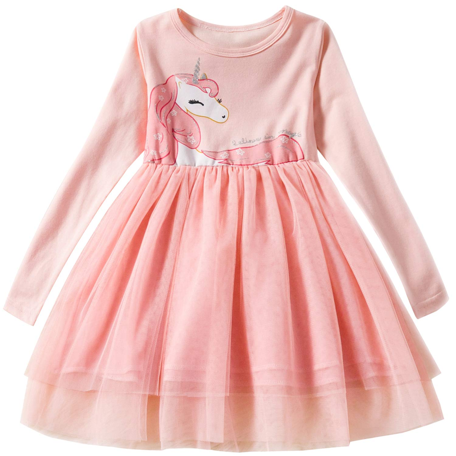 8d368db890 Amazon.com  TTYAOVO Toddler Girls Winter Clothes Long Sleeve Girls Dresses  Kids 2-8 Years  Clothing