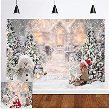 Christmas Snow Theme Background-Snowy Cottage and Christmas Tree Photography Background Christmas Photo Props Christmas Baby Shower Photography