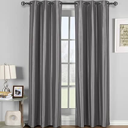 Soho Gray Grommet Blackout Window Curtain Panel, Solid Pattern, 42x84  Inches, By Royal