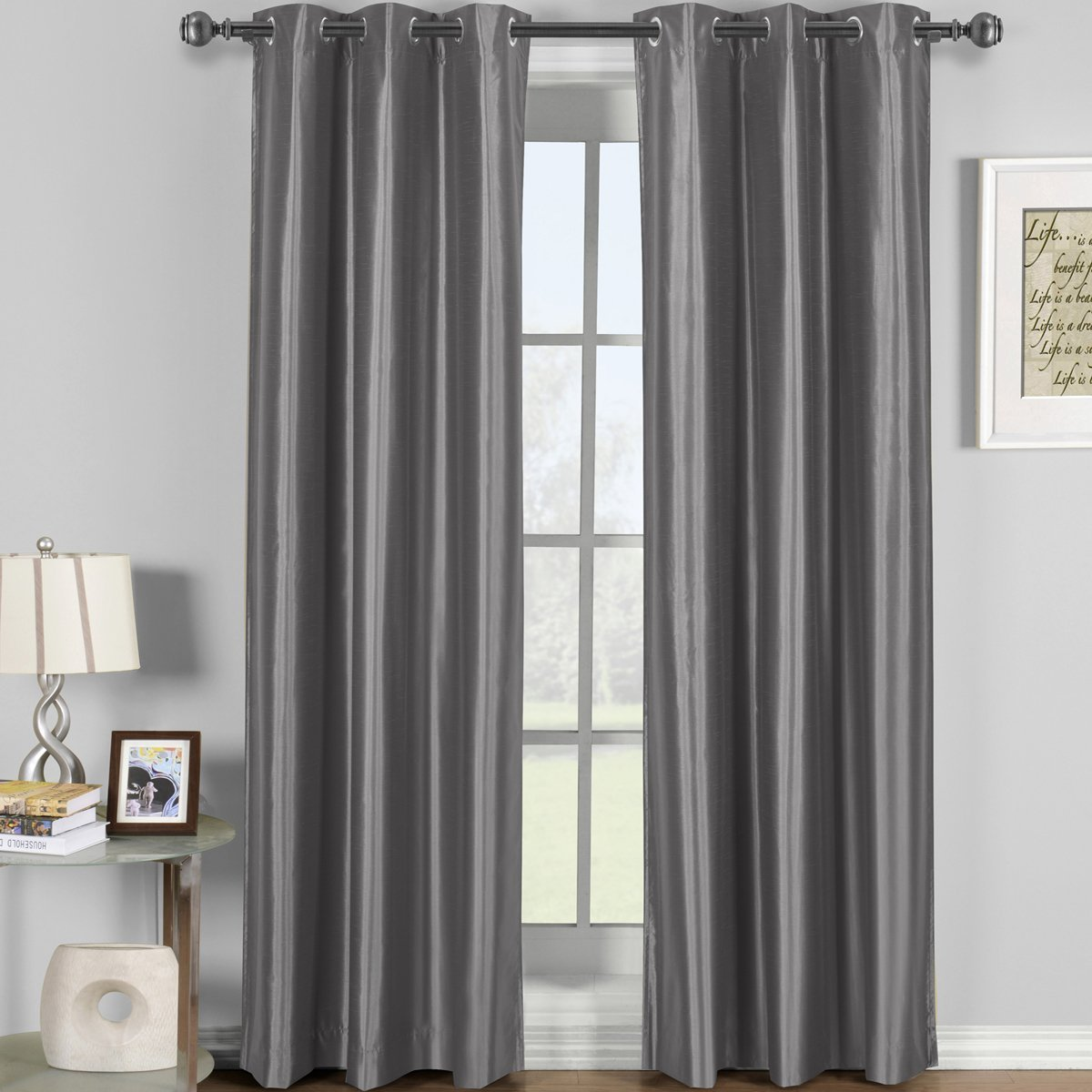 Soho Gray Grommet Blackout Window Curtain Drape, Solid Pattern, 42x84 inches, by Royal Hotel