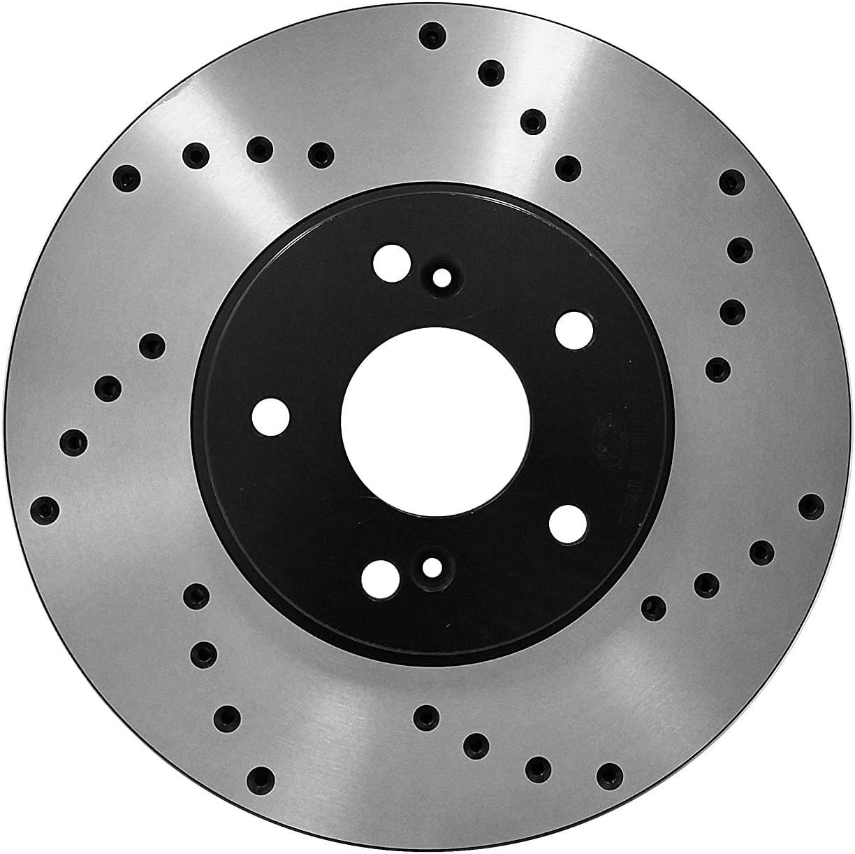 Fit 13-15 Hyundai Santa Fe 4 Cyl Front Drilled Brake Rotors Ceramic Pads