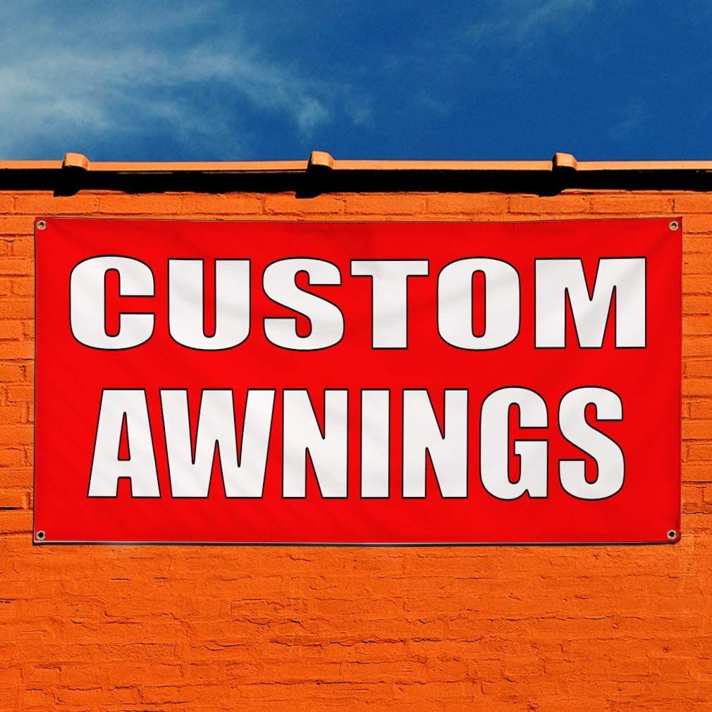 28inx70in Set of 2 4 Grommets Vinyl Banner Sign Custom Awnings red White Business Outdoor Marketing Advertising Red Multiple Sizes Available