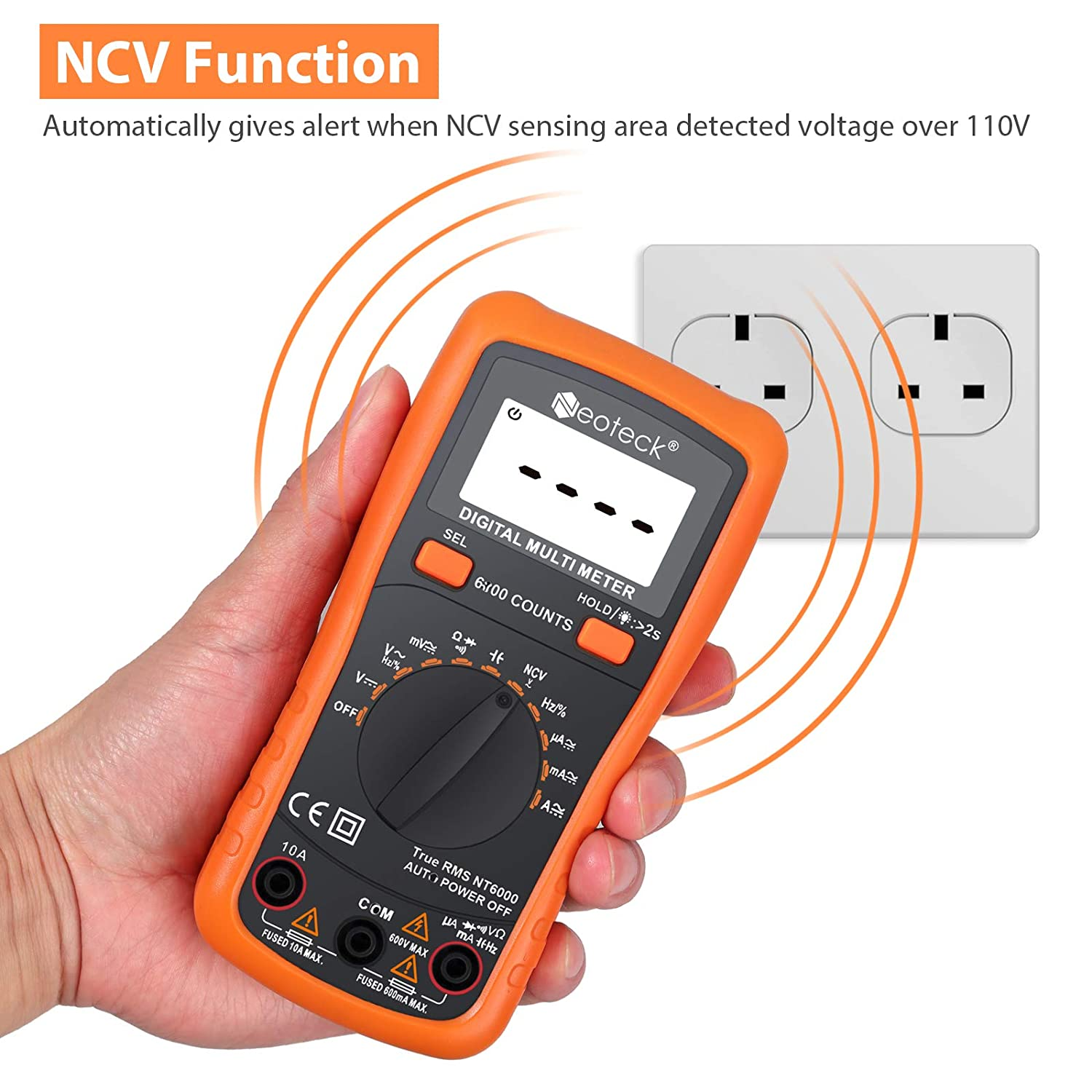 Neoteck 6000 Counts TRMS Auto Ranging Digital Multimeter, Multimeter Tester with NCV AC DC Voltage Current Resistance Capacitance Continuity Frequency for Laboratory Factory and other Social Fields