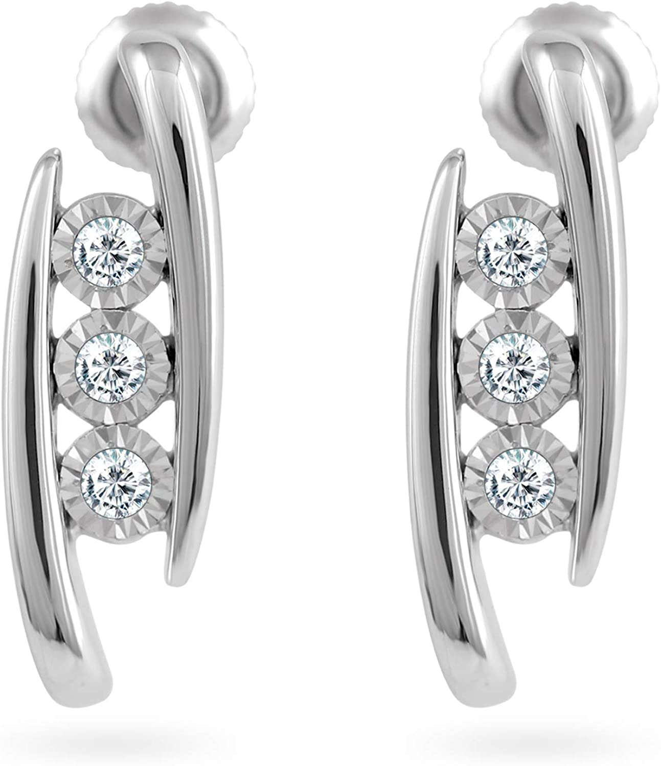 14k White Gold 0.05 to 0.30 Carat Diamond Miracle Plate Stud Earrings for Women (Color- IJ, Clarity I2/I3) 4-Prong Basket Set, Screw-Back Clasps