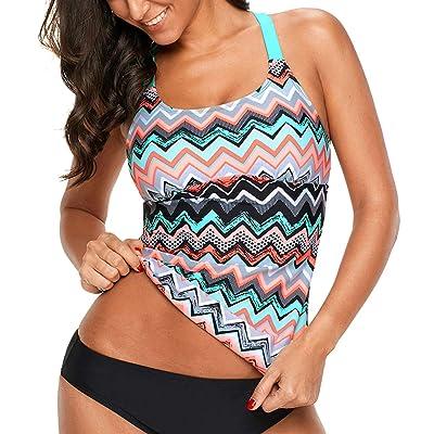 Aleumdr Womens Striped Printed Strappy Racerback Tankini Swim Top No Bottom S - XXXL: Clothing