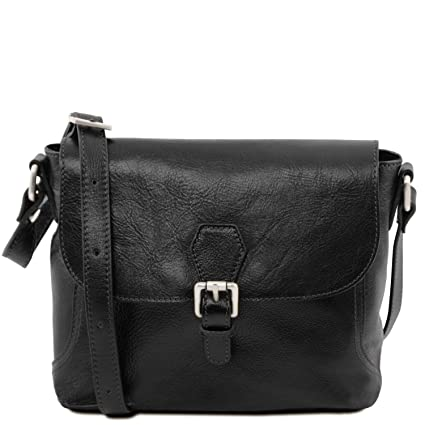 Amazon.com  Tuscany Leather Jody Leather shoulder bag with flap Black  Tuscany  Leather Official Store e971febb041da