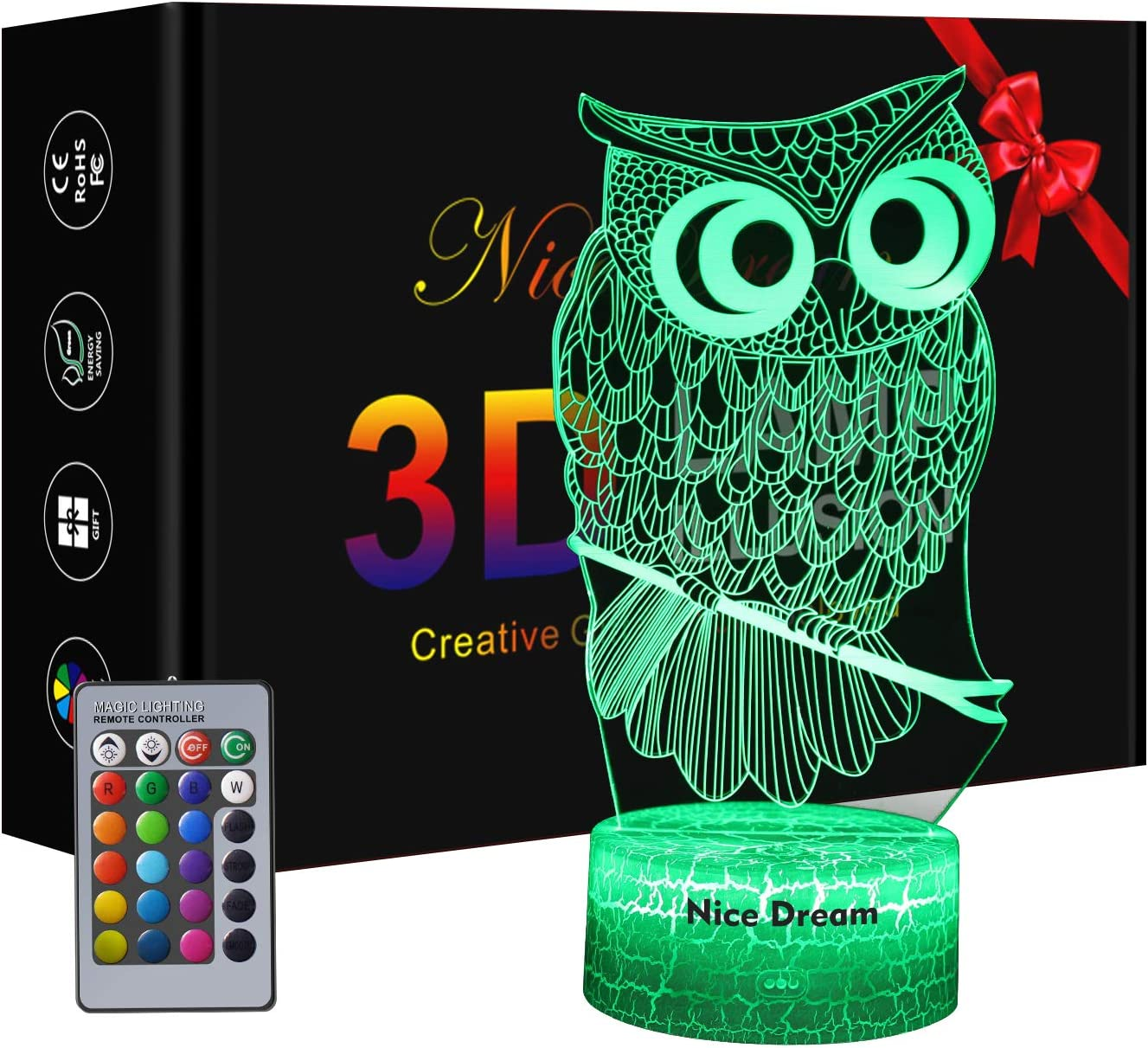 Owl Gift Owl 3D Night Light for Kids, Owl Decor 3D Illusion Lamp with Remote Control, 16 Colors Dimmable USB Powered Touch Control with Crack Base and Remote, Gift for Lovers Boys Girls Kids