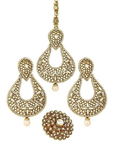 Indian Pakistani Bridal Earring Tikka Set Jewellery Head Chain Jhumkas Jhumki UK