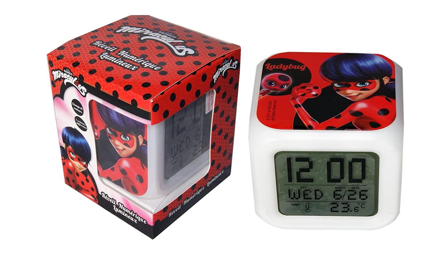 Miraculous Ladybug LED Digital Alarm Clock Night Colorful Glowing,Thermometer
