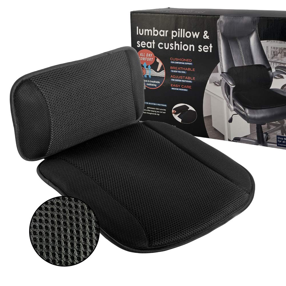 Seat Cushions for Office Chairs, Airfresh 5D Air Mesh Car Seat Cushion with Back Support Cushion for Back Pain & Sciatica 2-in-1 Lumbar Support Pillow for Chair, Black