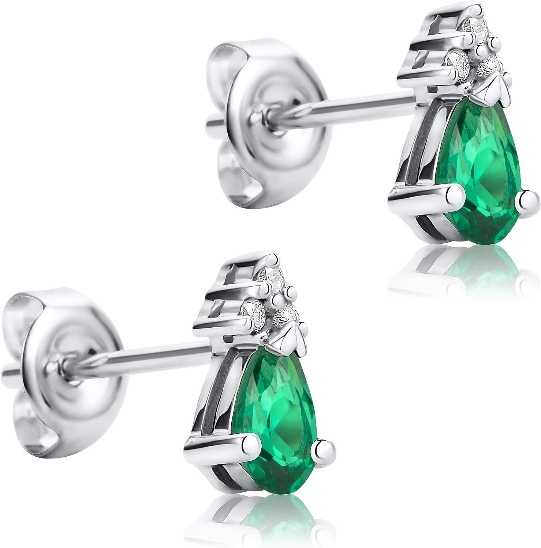 Orovi Pendientes Señora presión en Oro Blanco con Diamantes Talla Brillante y Esmeralda Talla Pera 0.4 Ct Oro 9 Kt / 375