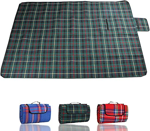Wowlife 200 x 150cm 80 x 60 inch Outdoor Plaid Blanket Picnic Blanket Extra Larger Foldable Waterproof Mat Blanket Green