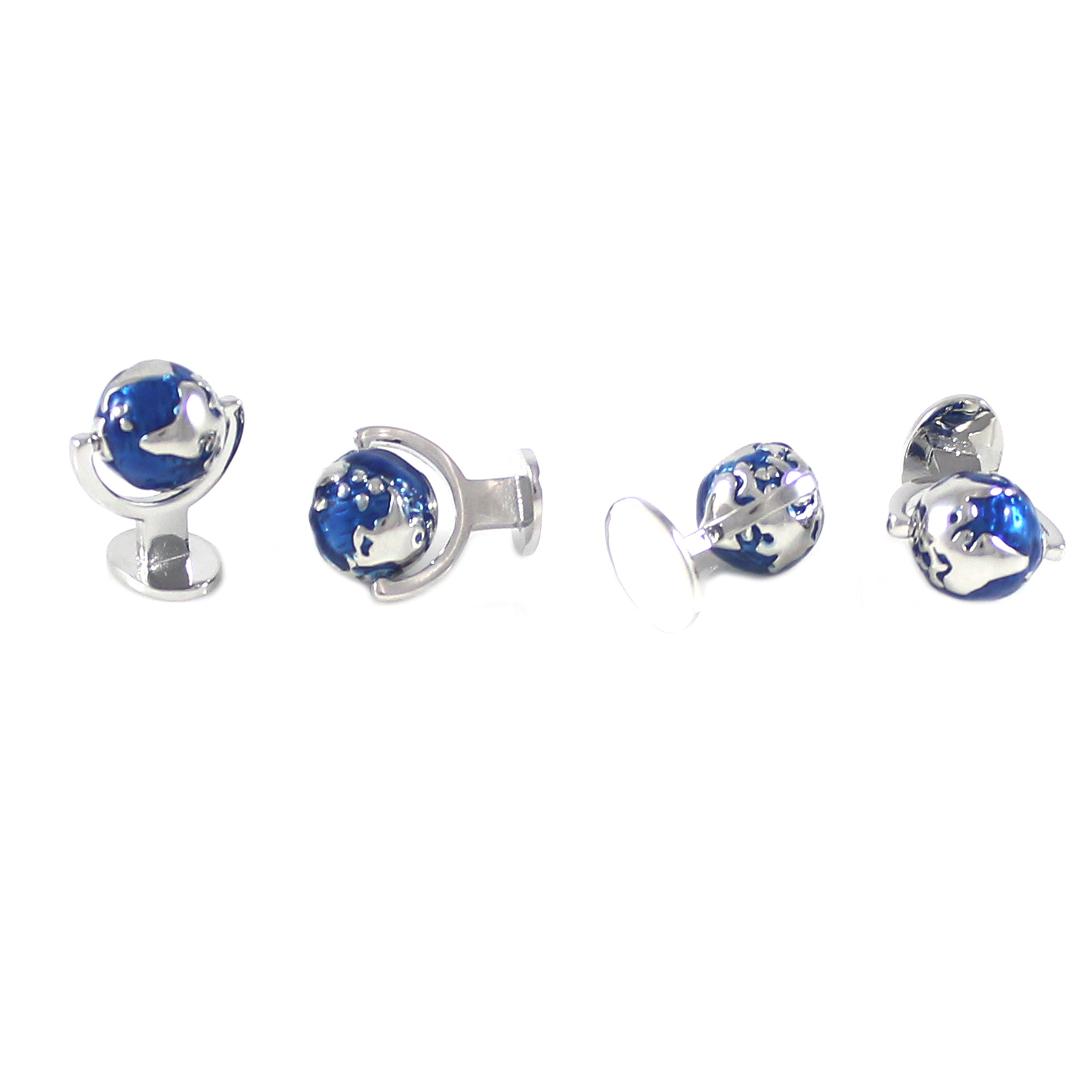 MENDEPOT Classic Rhodium Plated Blue And Silver Globe Cuff Link And Shirt Studs Formal Wear Set With Box Earth Planet Suit Set by MENDEPOT (Image #3)