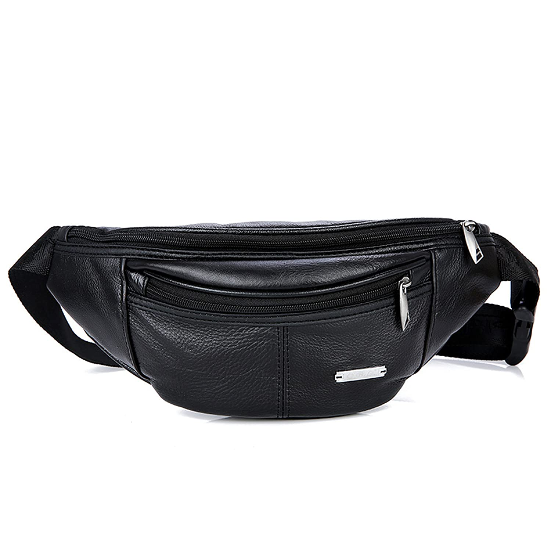 スリムパターン本革ウエストバッグ、牛革スポーツバッグ、ウエストパックFannyバッグクロスボディバッグ、レトロバックパック、財布ポーチ旅行ハイキングBum Bag B074W4JVG8 ブラック ブラック