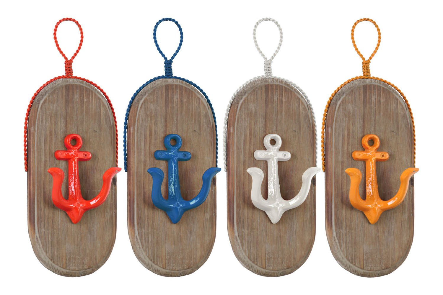 Urban Trends Collection Metal Oval Wall Hook with 1 Hanger, Wood Board and 1 Anchor Design Hook Coated Finish Assortment of Four Colors - Yellow, Dark Blue, White, Red - 13'''' H, NEW