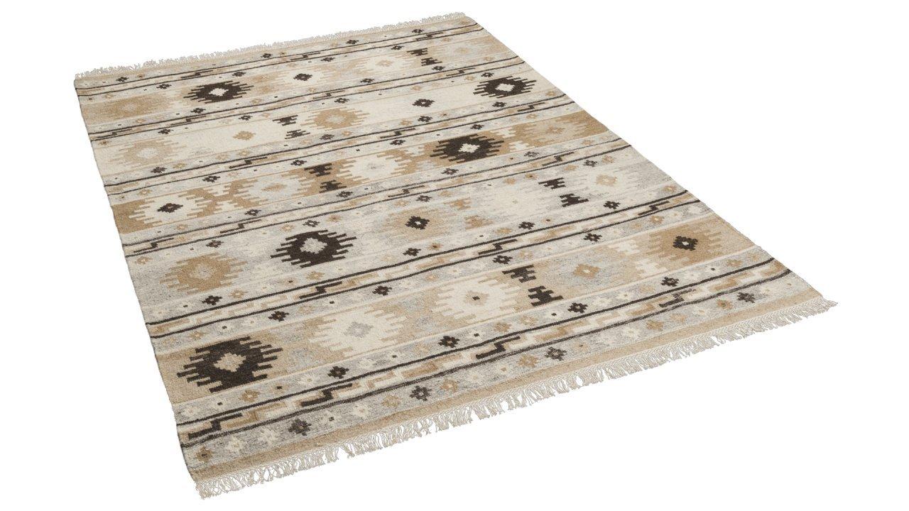 Natur Teppich Kelim Sumak Beige Braun Trend in 7 Größen