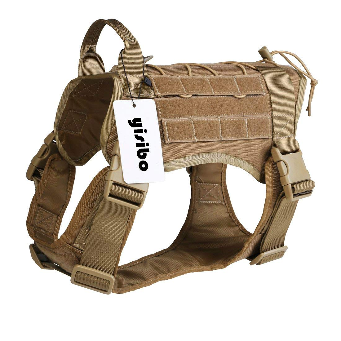 yisibo Comfortable Molle Tactical Dog Harness Military K9 Working Water-Resistant Hiking Dog Vest with Handle,Extra-Large (31.5''-39.5'' Chest Girth),Coyote Brown