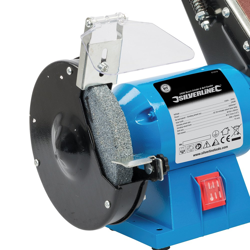 Silverline 612519   240W DIY Bench Grinder U0026 Belt Sander 230V:  Amazon.co.uk: DIY U0026 Tools
