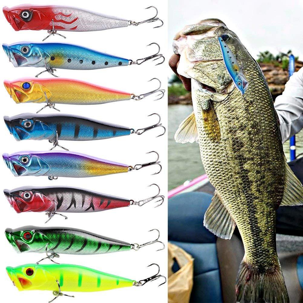 Sougayilang Plastique Dur Popper Topwater Flottant Leurres de P/êche Swimbait Surface Eau Bass App/ât Crochets pour Eau de mer deau Douce P/êche Lot DE 10/Pcs.
