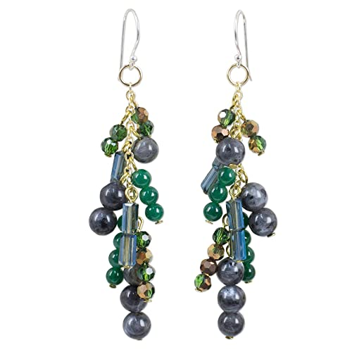 NOVICA Labradorite .925 Yellow Gold Plated .925 Sterling Silver Dangle Hook Earrings, Brilliant Cascade