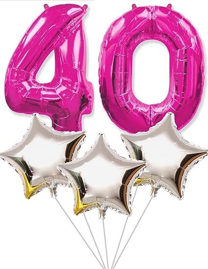 FIESTADEKOR Globo número 40 para Fiestas de cumpleaños y Aniversarios de Boda, Medida 100 cm + 3 Estrellas Plateadas de 45cm, inflándolos con Helio ...