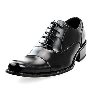 MM/ONE Mens Shoes Oxford Shoes Fathers Gift Dress Shoes Casual Cap Toe Black 45 EU (US Men's 11 M)
