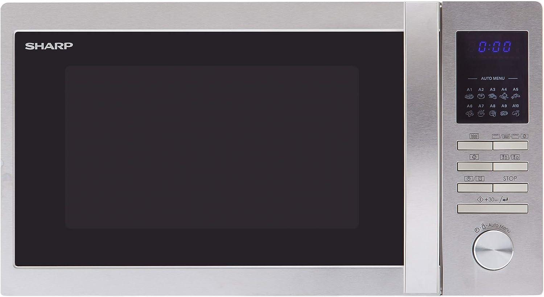 Sharp R-822STWE Encimera - Microondas (Encimera, Microondas combinado, 25 L, 900 W, Botones, Giratorio, Acero inoxidable)