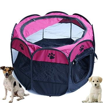 YOUJIA Parque Perros Entrenamiento y Dormitorio Portable Casa de Mascotas Perro Gato (Rose, S)