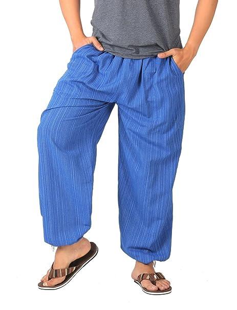 5be2c7bcbc CandyHusky Pin Stripes Cotton Joggers Pajama Yoga Pants Elasticed Waist  Drawstring (Blue): Amazon.ca: Clothing & Accessories