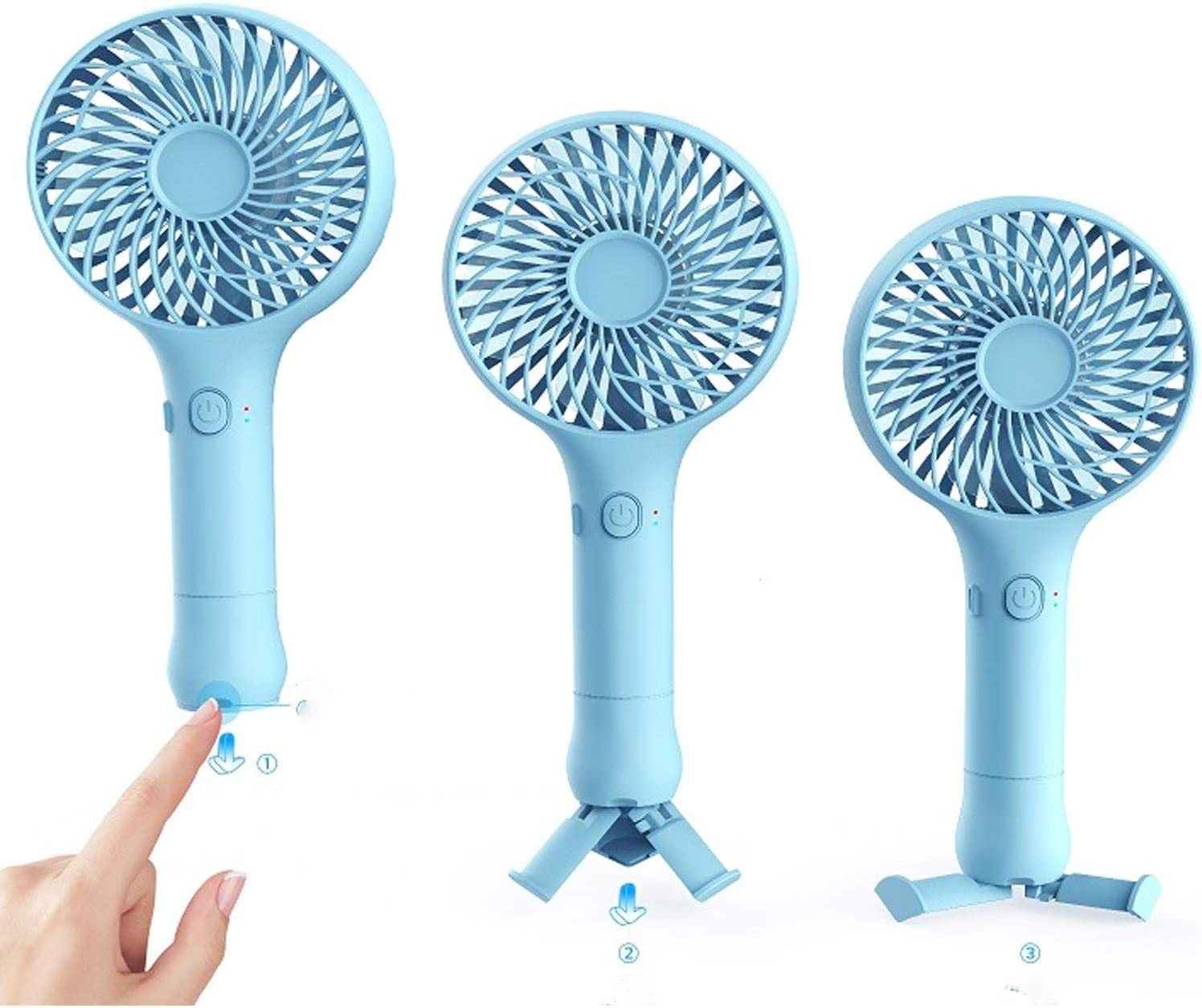 Color : White Air Cooler Portable Tripod Mini Fan Charging Bedside USB Silent Handheld Fan Home Office Dormitory Desktop Fan