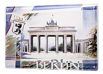 Blechschild Xxl Fernweh Stadt F Heigl Berlin Brandenburger Tor
