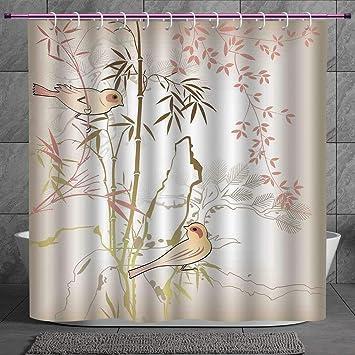 Nature Shower Curtain Vintage Birds Flowers Print for Bathroom