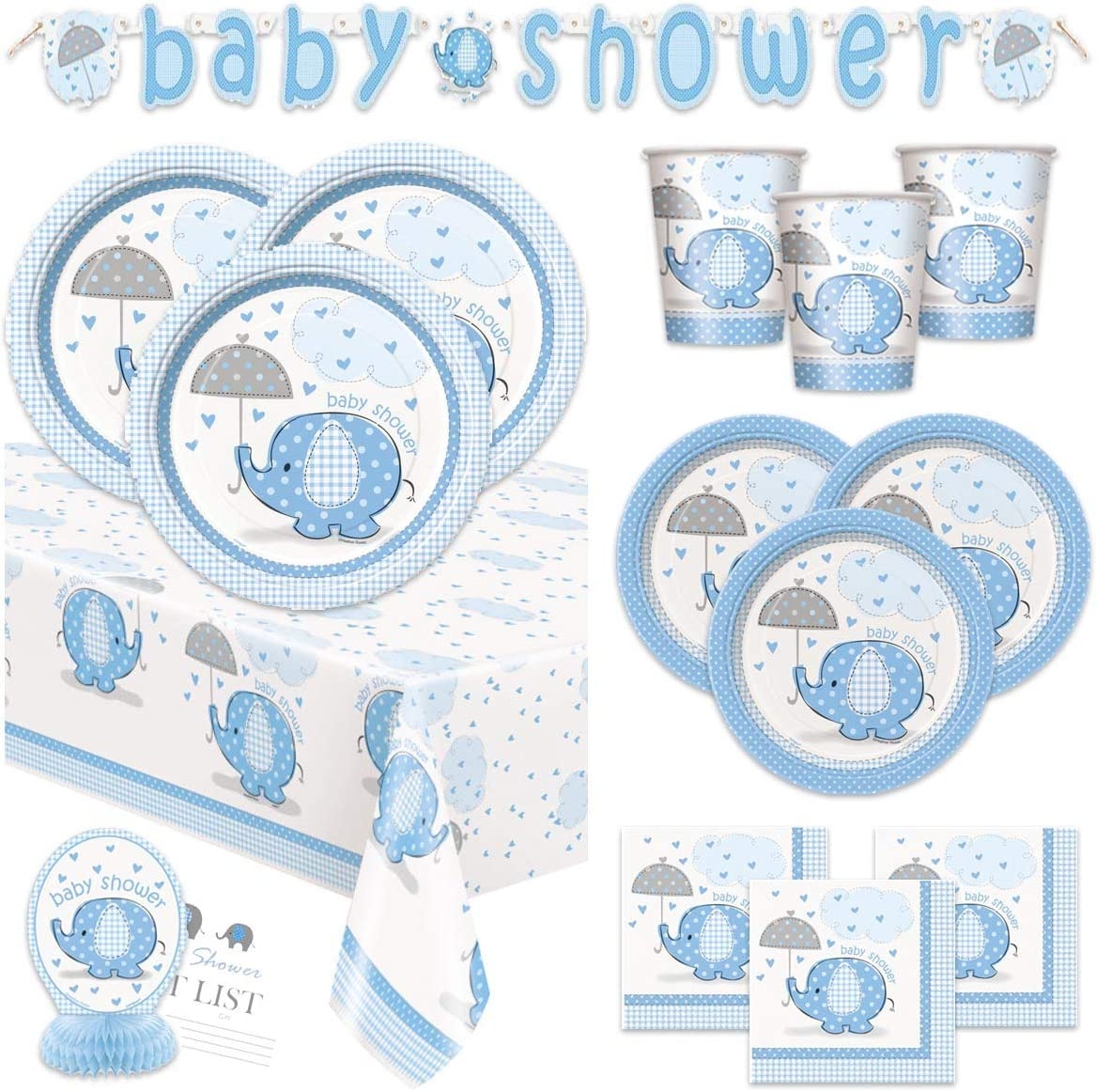 Boy Baby Shower Party Supplies Set - Blue Elephant Design Includes Plates, Cups, Napkins, Tablecover, Banner Decorations (Deluxe - Serves 16)