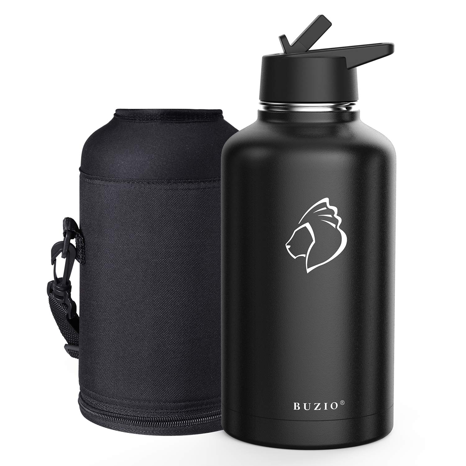 BUZIO Vacuum Insulated Stainless Steel Water Bottle 64oz (Cold for 48 Hrs/Hot for 24 Hrs) BPA Free Double Wall Travel Mug/Flask for Outdoor Sports Hiking, Cycling, Camping, Running
