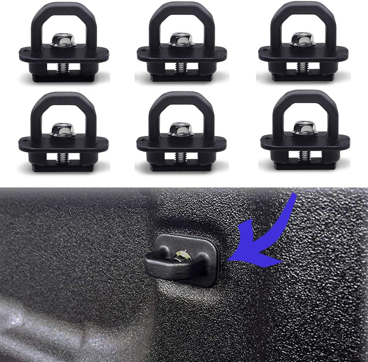 6-Pack MOEBULB Tie Down Anchor Truck Bed Cargo Side Wall Hook Rings Compatible for 2007-2018 Chevy Silverdo//GMC Sierra 2015-2018 Chevy Chevrolet Colorado//GMC Canyon