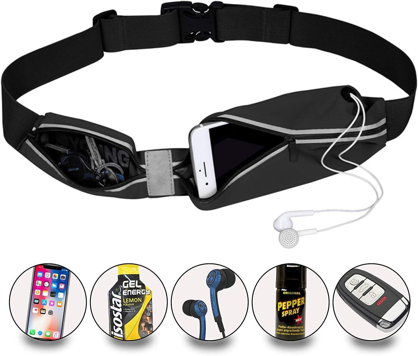 RunChao Running Belt Waist Pack, Pocket Outdoor Sweatproof Water-Resistant Reflective Waist Bag Runners Belt, Fitness Workout Belt, iPhone X 6 7 8 for Men and Women