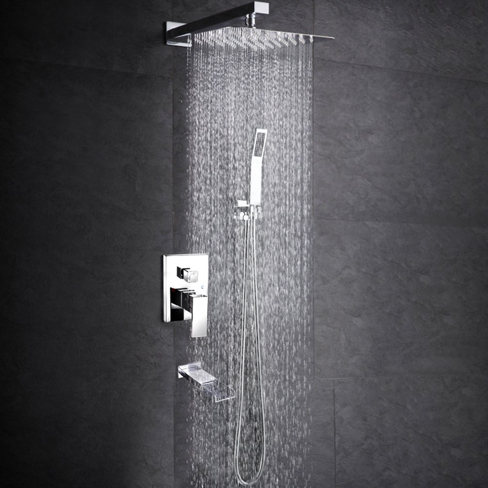 SR SUN RISE Bathroom Luxury Rain Mixer Shower Tub Spout Combo Set Wall Mounted Rainfall Shower Head System Polished