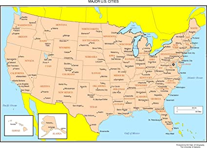 United States Map Of Cities.Amazon Com Home Comforts Laminated Map Maps The United States Us