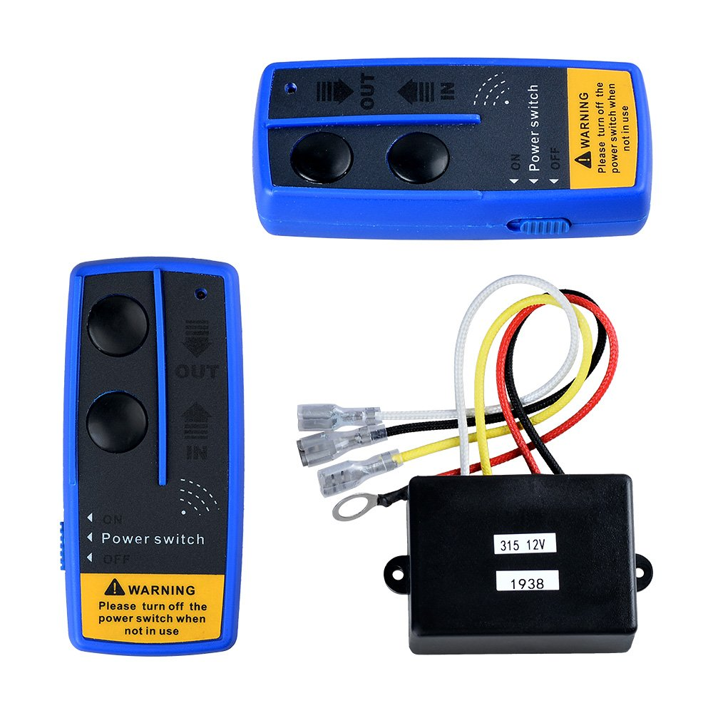 Astra Depot 2 Sets 12V Wireless Winch Receiver Remote Control 150ft Kit Compatible with Car Jeep ATV UTV 4WD 4x4 Winches Solenoid Contactor Relay